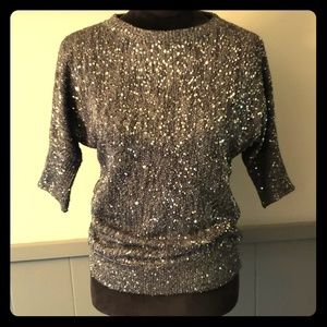 Etcetera Black Sequin Party Sweater Dressy Glam XS
